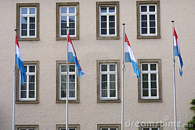 Luxembourg flags and building