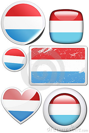 Luxembourg - Set of stickers and buttons