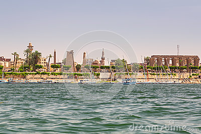 Luxor city on the coast of Nile river