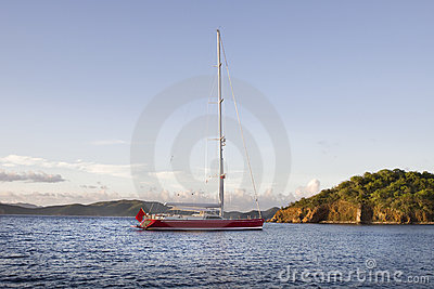 Luxurious anchored sailboat