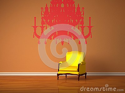 Luxurious chair with silhouette of chandelier
