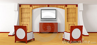Luxurious chairs, bureau and lcd tv with bookcase