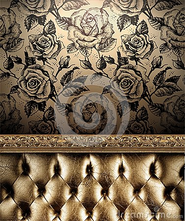 Free Luxurious Golden Sofa On The Roses Wallpaper Background Royalty Free Stock Image - 62900416
