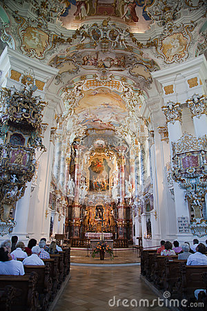 The luxurious interior of the Church Wieskirche Editorial Stock Image