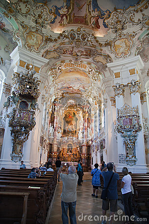 The luxurious interior of the Church Wieskirche Editorial Photo