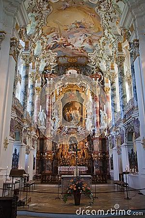The luxurious interior of the Church Wieskirche