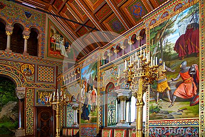 Luxurious interior of the Neuschwanstein Castle. Editorial Stock Photo