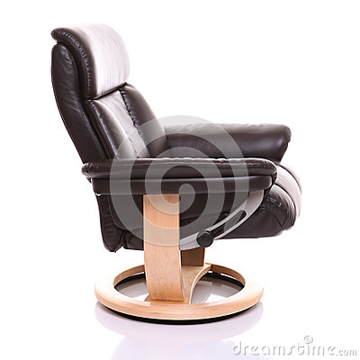 Luxurious leather recliner chair, side on.