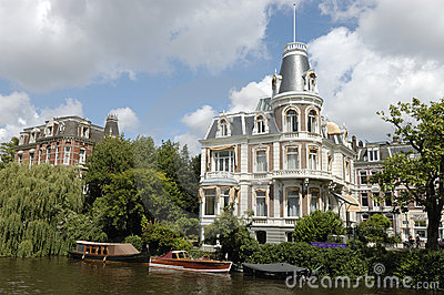 Luxurious mansion on Amsterdam canal.