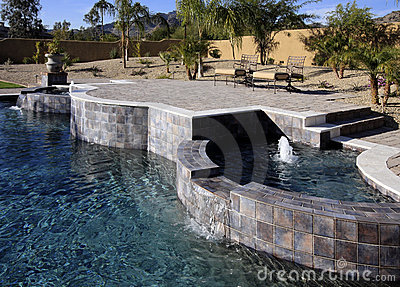 Luxurious mansion pool, spa and patio