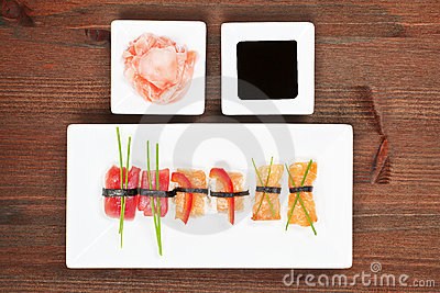 Luxurious nigiri sushi.