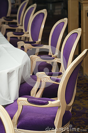 Luxurious Purple Chairs in Formal Dining Room