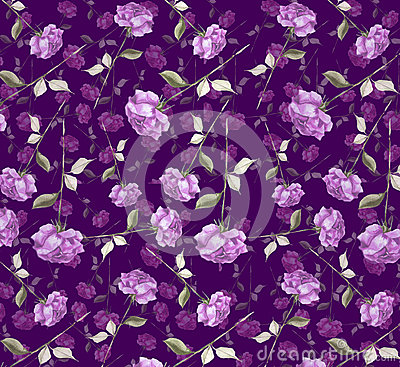 Free Luxurious Purple Violet  Watercolor  Abstract Rose Flower Art Seamless Wallpaper Background Royalty Free Stock Photo - 59195945