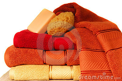Luxurious towels with soap and sponge