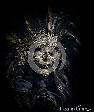 Luxurious venetian mask isolated on black