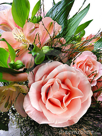 Luxurious Wedding Bouquet, Pink Roses