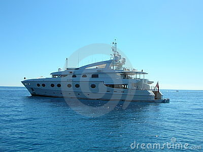 Luxurious yacht in blue sea