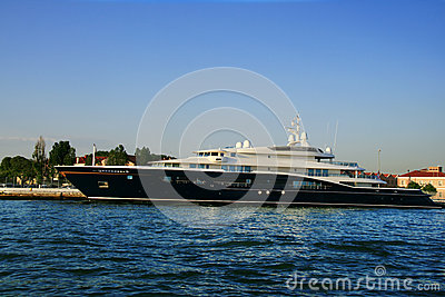 Luxurious yacht in port