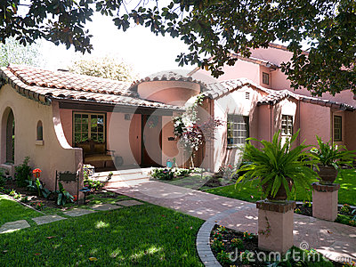Luxury Adobe house in afternoon sun