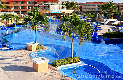 A luxury all inclusive beach resort at morning