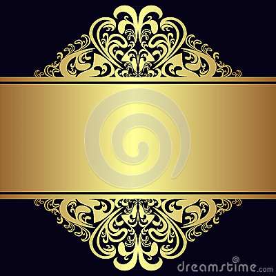 Free Luxury Background With Royal Golden Borders And Ribbon. Royalty Free Stock Photos - 54295118