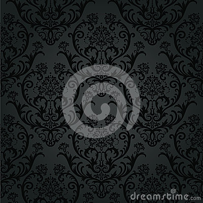 Free Luxury Black Charcoal Floral Wallpaper Pattern Stock Images - 31575584