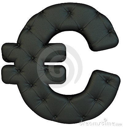 Luxury black leather font Euro symbol