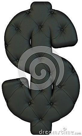 Luxury black leather font US dollar symbol