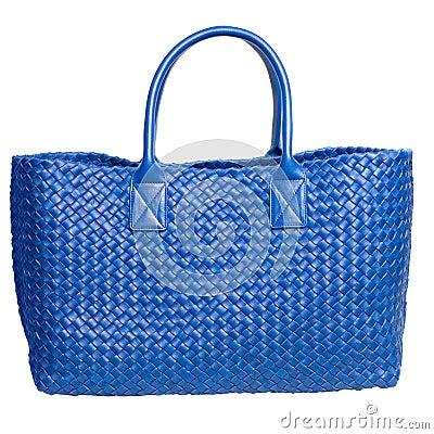 Luxury blue leather female bag isolated on white