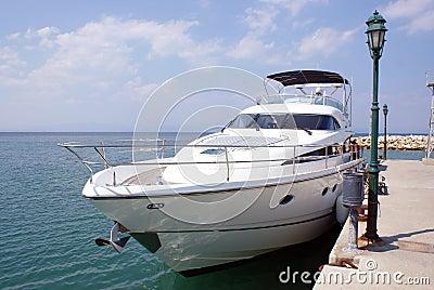 Luxury boat near the dam