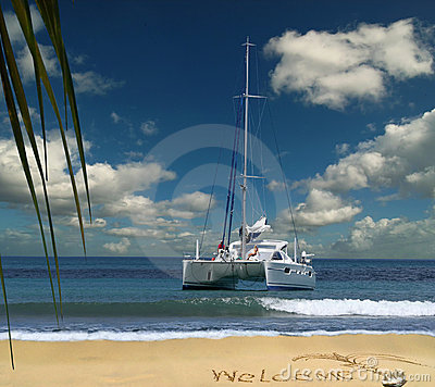 Luxury boat is welcoming on tropical island.
