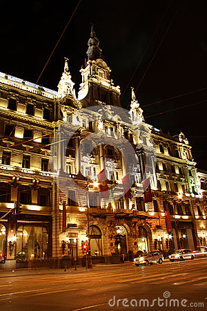 Luxury Boscolo hotel in Budapest at night (Hungary) Editorial Stock Photo