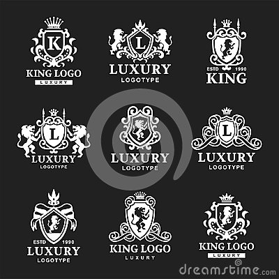 Luxury boutique Royal Crest high quality vintage product heraldry logo collection brand identity vector illustration. Vector Illustration