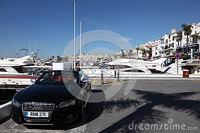 Luxury car in Puerto Banus, Spain Editorial Stock Image