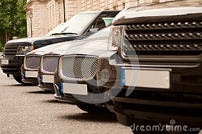 Luxury cars in a row