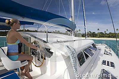 Luxury Vacation - Catamaran -  Fiji - South Pacific Editorial Stock Photo