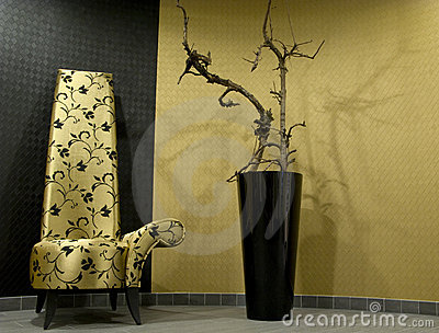 Luxury chair and plant