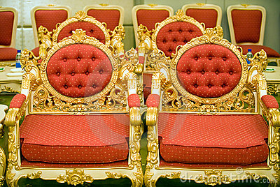 Luxury chairs in reception room