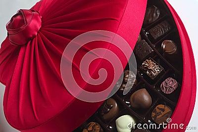 Luxury chocolate box open