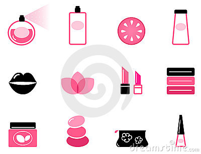 Luxury cosmetic icons and graphic elements