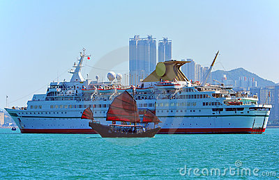 Luxury cruise and chinese junk