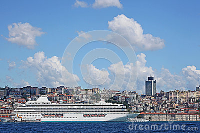 Luxury cruise ship in Bosporus