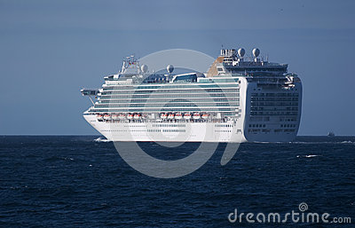 Luxury cruise ship sailing