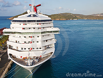 Luxury Cruise Ship Tied at Harbor on St Thomas