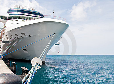 Luxury Cruise Ship Tied to Concrete Pier