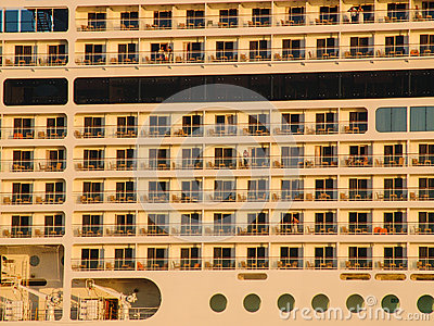 Luxury cruising ship closeup. view from the left.