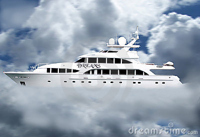Luxury dream yacht in clouds