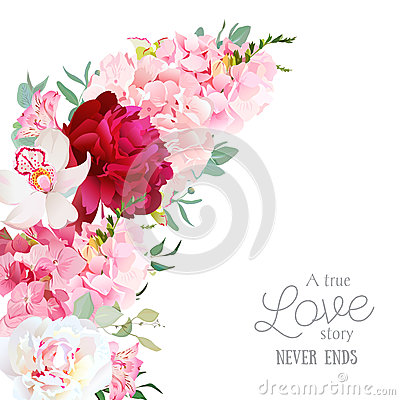 Free Luxury Floral Crescent Shape Vector Frame With Peony, Alstroemeria Lily, Orchid, Hydrangea, Eucalyptus On White. Royalty Free Stock Image - 82232006