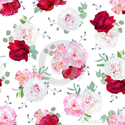 Free Luxury Floral Seamless Vector Print With Peony, Alstroemeria Lily Stock Image - 75125461