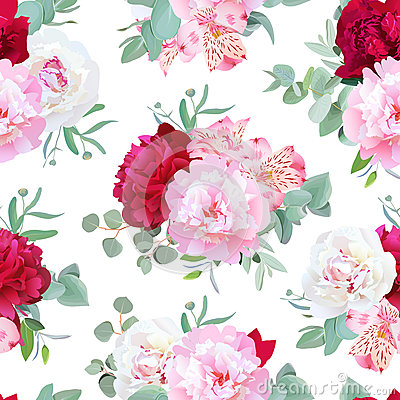 Free Luxury Floral Seamless Vector Print With Peony, Alstroemeria Lily, Mint Eucaliptus And Ranunculus Leaves On White Royalty Free Stock Photo - 74482025